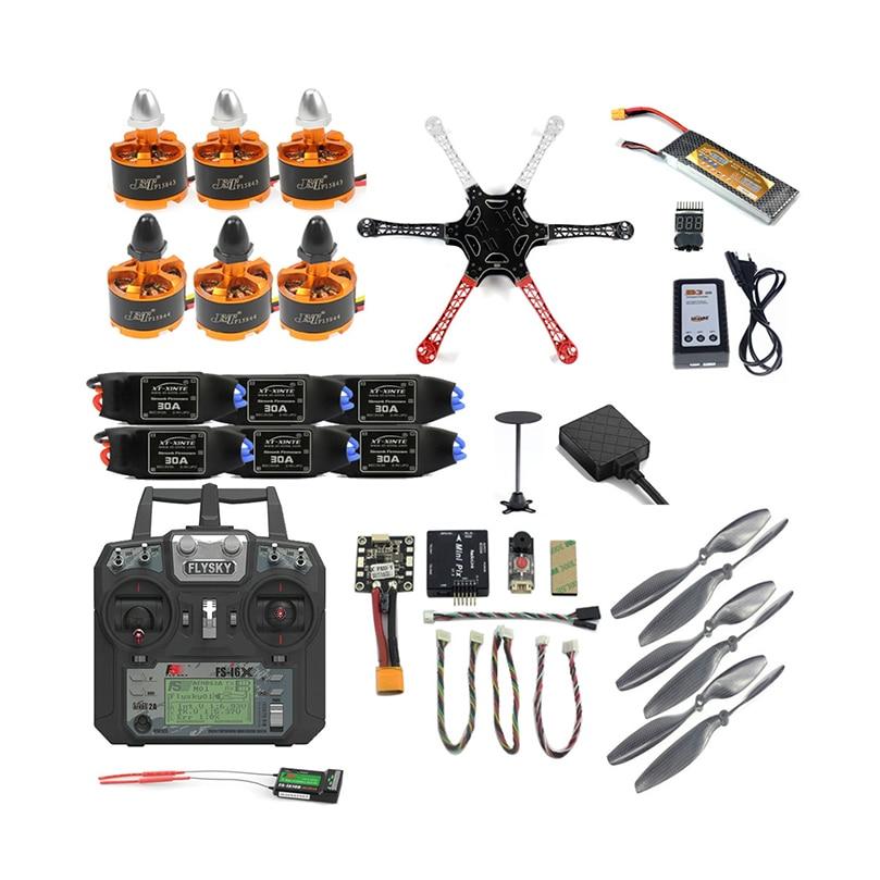 Conjunto completo DIY Kit Quadro Zangão F550 2.4G 10CH Cotroller Remoto Radiolink M8N GPS PIXHAWK PIX Altitude Hold FPV atualizar Hexacopter