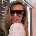 Gradiente de Óculos De Sol Das Mulheres Marca de Moda Designer de óculos de Sol de Grandes Dimensões do vintage Óculos Femininos Óculos de sol Flat Top Grande Quadro Shades Oculos de sol