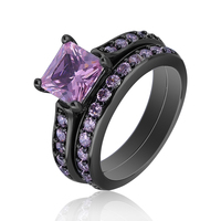 Black Gold Plated Brass Bijoux Luxury 2pcs Couple Rings Wedding Ring Set AAA Pink CZ Jewelry