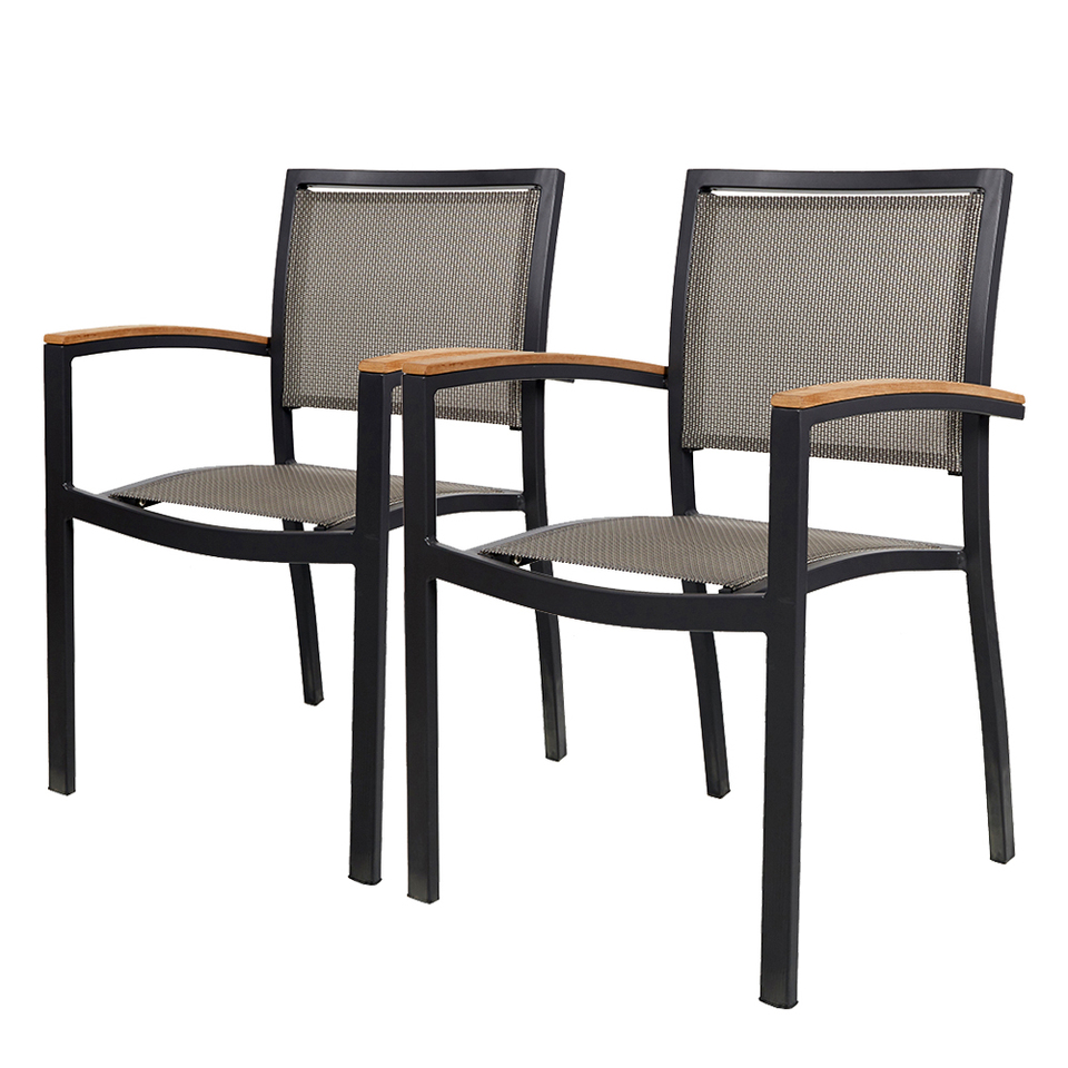 2 Pcs Stackable Patio Chairs Metal