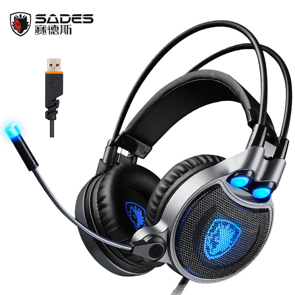 SADES R1 USB 7.1 Surround Sound Gaming Headset Over-ear headband game Headphones Vibration with mic LED Light for PC