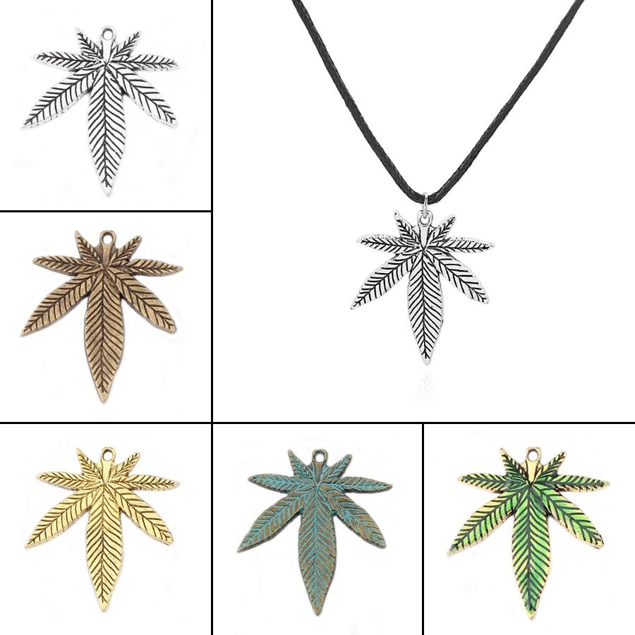 1 stk tibetansk sølv / bronze / guld / Patina RASTA blade charme hamp vedhæng sort voks bomuld ledning halskæde hedenske wiccan smykker