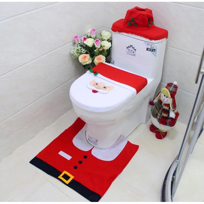 Santa Claus Rug Toilet Seat Cover Bathroom Set Snowman Merry Christmas Decora