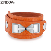 ZINDOV Real Leather Wrap Bracelet For Women Jewelry High Quality Gift Stainless Steel Wide Genuine Leather