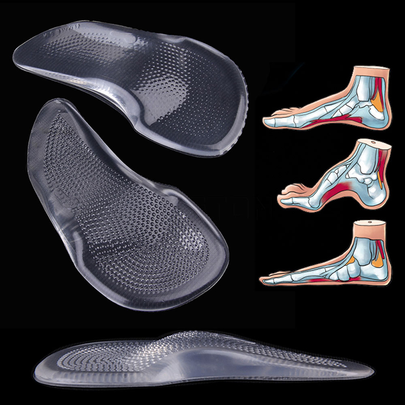 1 Pair 3/4 Silicone Gel Arch Support Pad For Flat Foot Orthotics Orthopedic Foot Insoles Corrector For Feet Care P0046