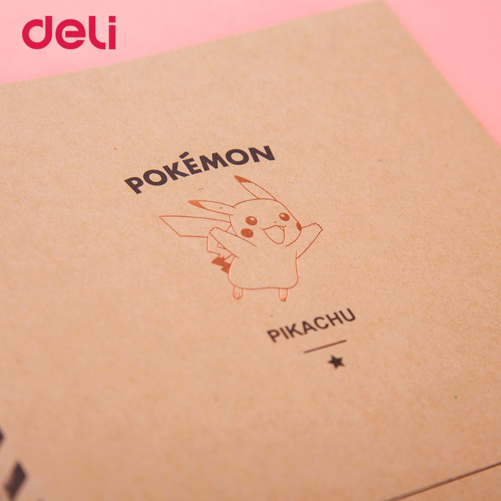Deli cute Stitching Binding Notebook Soft Cover A5 pokemon pikachu Cartoon Diary Notebook Kawaii Stationery Office school 4style