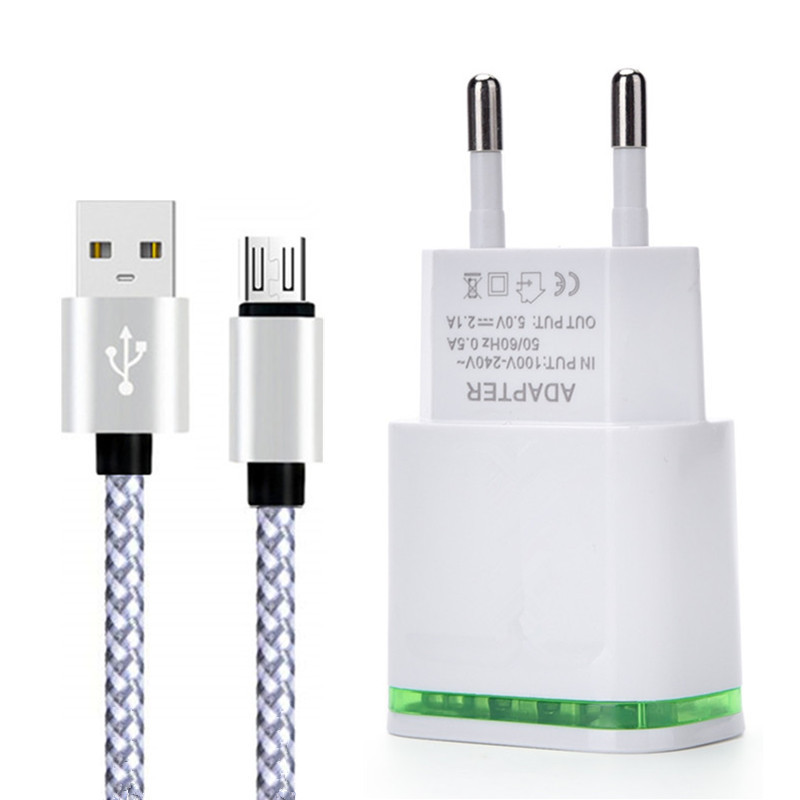 Universal 2.1A Micro USB Cable Sync Data Charger For Android Samsung Huawei ZTE
