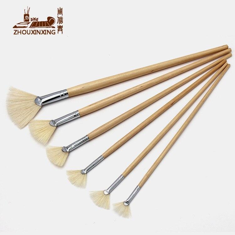 Щётка для масляной живописи Zhouxinxing, 6 шт./компл., щётки для поросят, вентилятор, гуашь, тренировочные кисти для рисования, художественные прин...