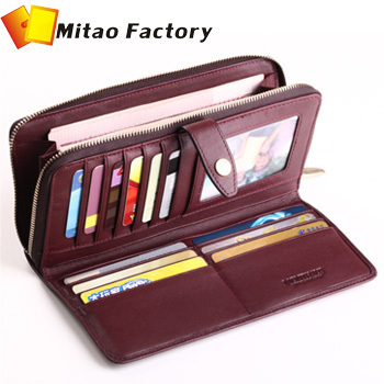 2013 Best Birthday Brand Luxury Men Leather Handbag For Christmas Gift Zipper Close Lady Clutch Purse Packing Wallet Sale