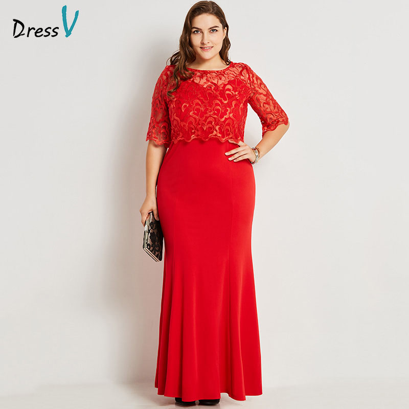 Dressv red round neck plus size evening dress elegant mermaid half sleeves lace wedding party formal dress evening dresses