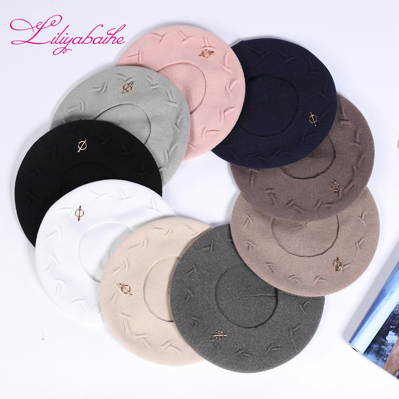 Liliyabaihe New women winter hat Wool knit berets, caps latest popular decoration solid colors fashion lady hat