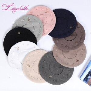 Image 5 - Liliyabaihe Yeni kadın kış şapka Yün örgü bere, kapaklar son popüler dekorasyon katı renk moda bayan şapka