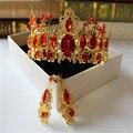 De oro de alto grado de la perla redonda de la vendimia de la reina corona tocado de la novia gran corona pelo de la boda accesorios de la joyería al por mayor