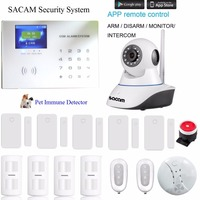 WiFi Wireless GSM Alarm System Camera Home Security System DIY Surveillance Kit App Phone Control IP Cam with PIR Motion Sensor