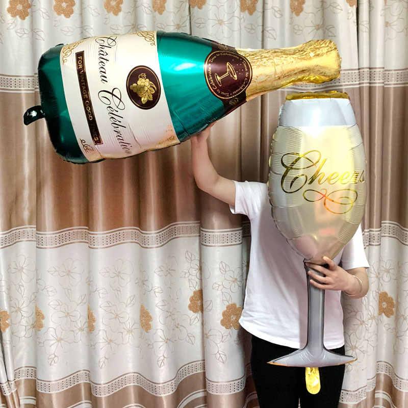 Feliz aniversário festa decoração adulto grande coroa champanhe copos uísque cerveja folha ballons 18th 21st 30th 50th aniversário balão