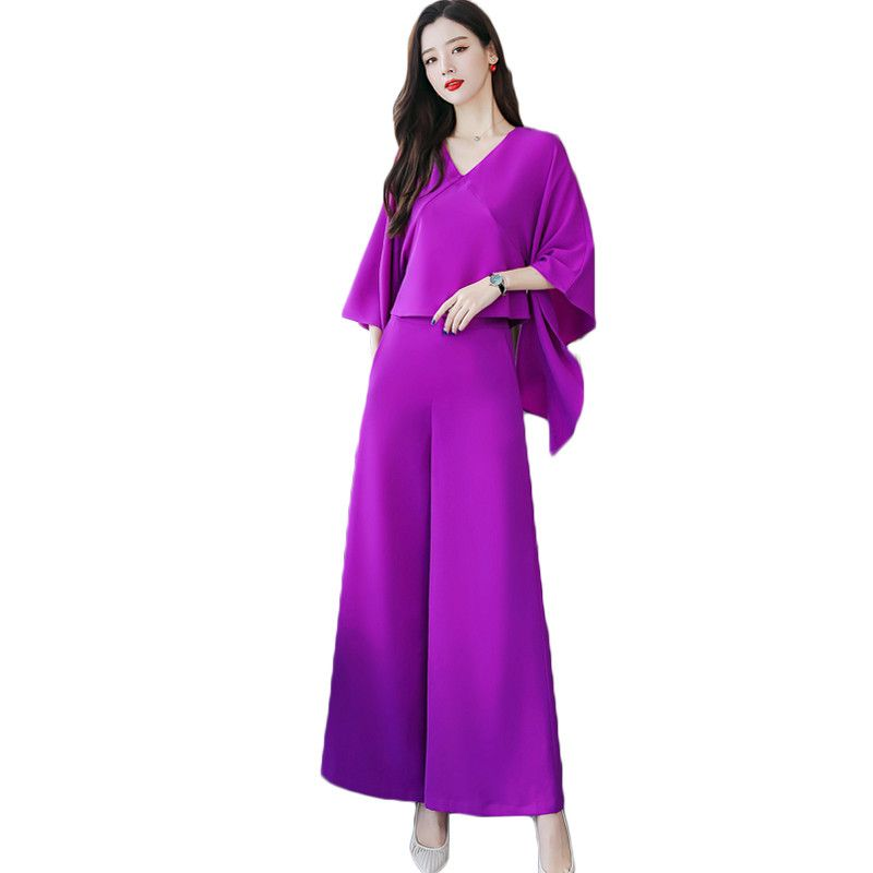 2019 New Fashion Summer Women 2 Piece Female Blouses + Wide Leg Trousers With Belt Suits Ladies Vintage Solid Sets Outfits F31