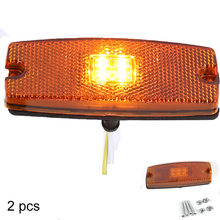 2 PCS AOHEWEI 10 30 V  LED amber side marker light indicator lamp with reflector for trailer truck lorry RV  caravan ECE Approva