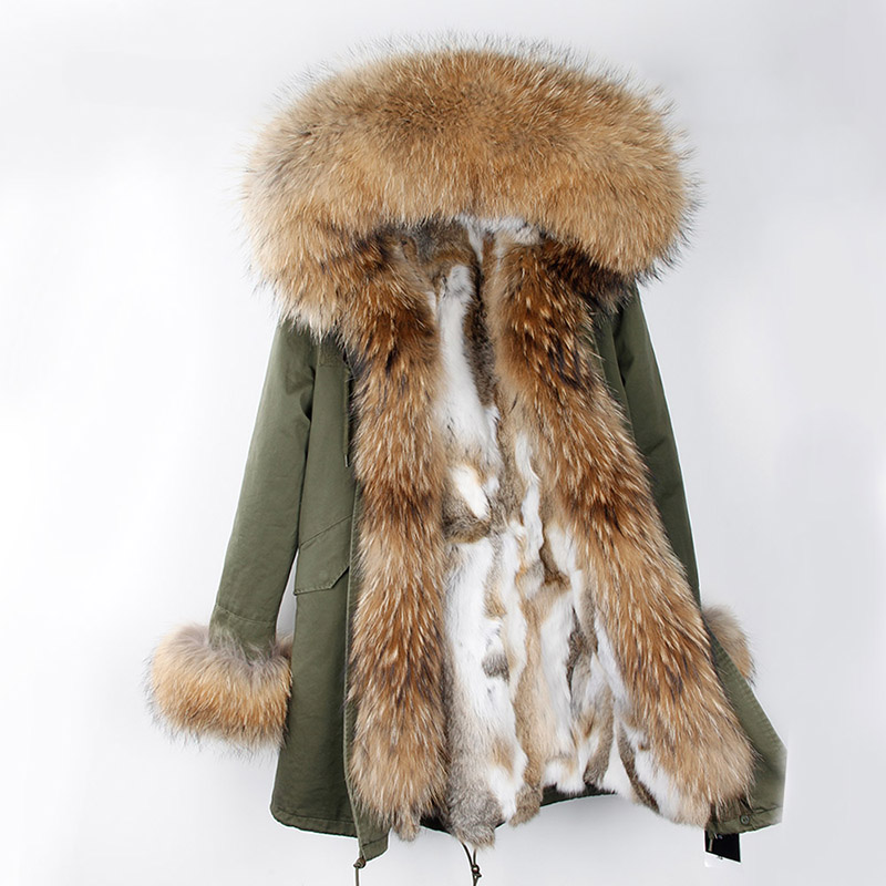 Long Winter Jacket Women's Luxury Large raccon fur Collar with real rex rabbit fur lining