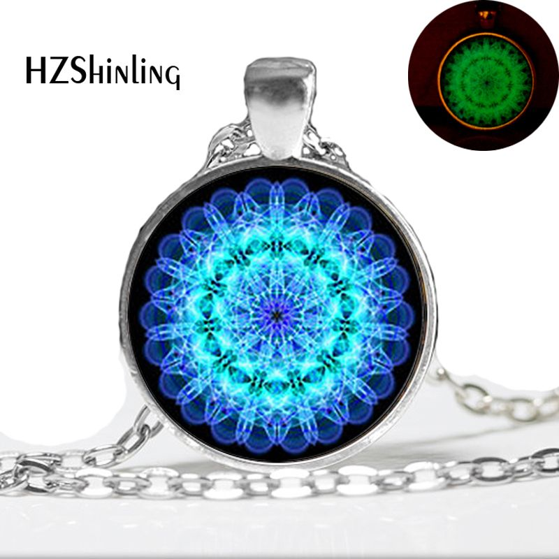 Women jewelry 2015 new fashion necklace Mandala Necklace,Mandala Art Necklace Soothing Blue Mandala  Glow in the dark Jewelry