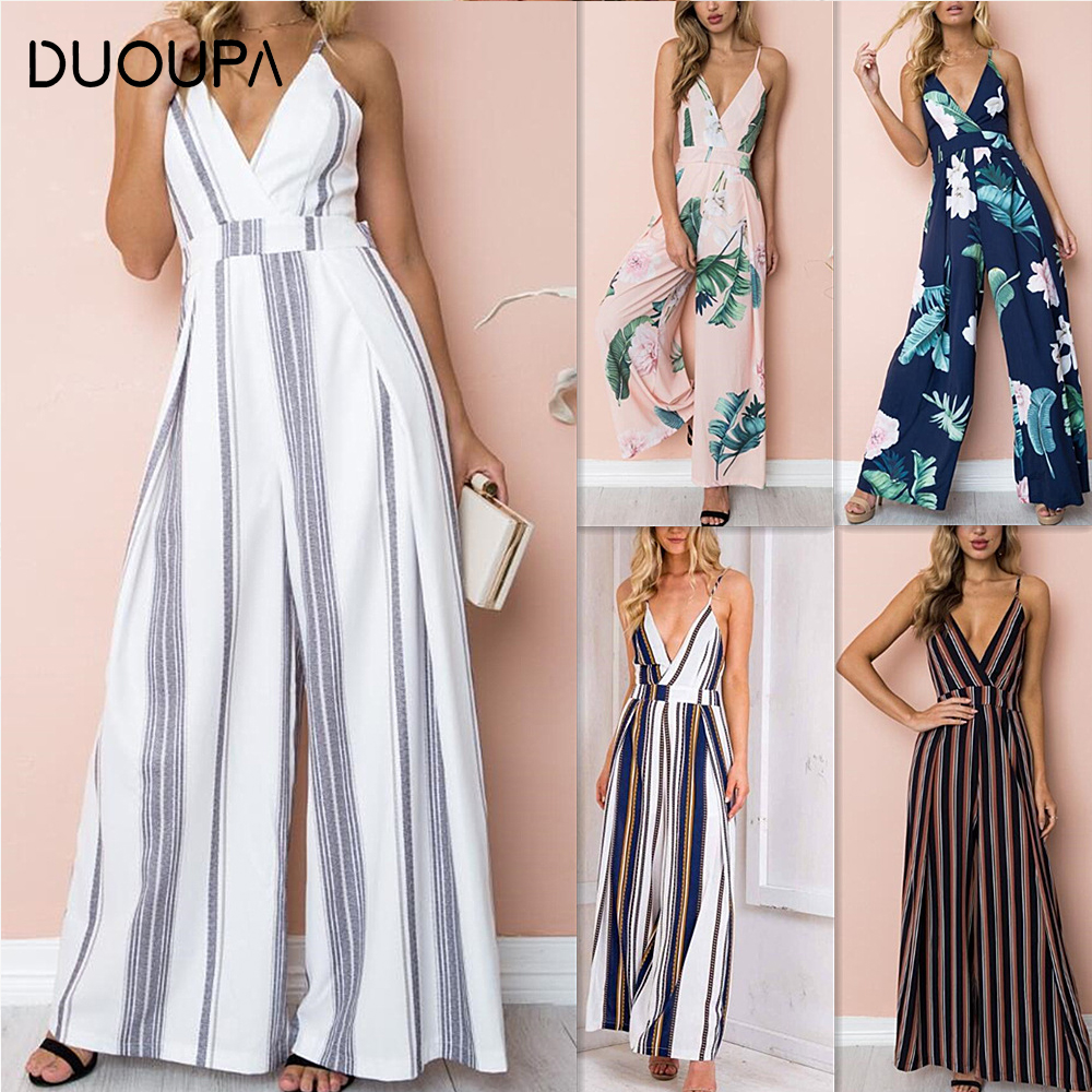 DUOUPA Summer New Blue Bodycon Backless Stripe Jumpsuits Women Sexy Party Clubwear Jumpsuits Casual Bowtie Overalls Jumpsuit Plu
