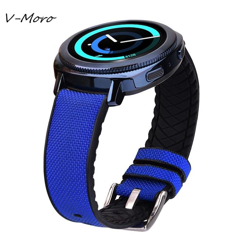 Gear Sport Band V-MORO 2018 New 20mm Nylon+Silicone Watch Straps For Samsung Gear Sport Bracelet Watch Bands Gear Sport Straps смарт часы samsung gear s2 black