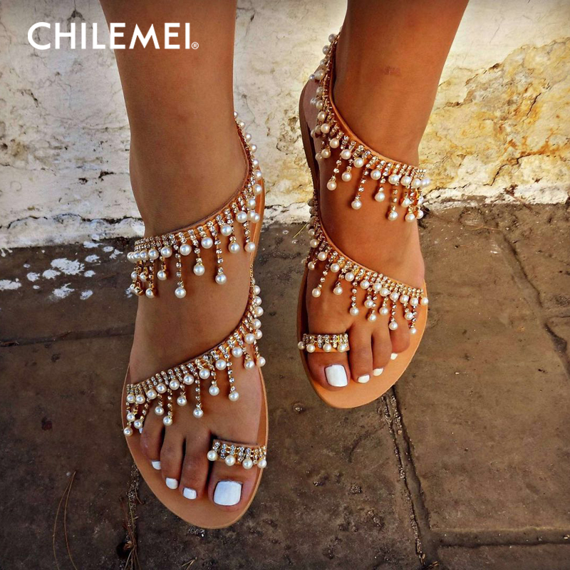 Fashion Women Shoes Large Size Roman Pearl Sandals Handmade Beaded Flat Sandals Women Exquisite Superior Quality Low Heel Summer timetang flat sandals t strap fashion trend sandals bohemia national flat heel beaded female shoes sale women shoes