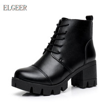 ELGEER Spring and Autumn New Black Lace Thick Heel boots Thick-soled Casual Womens Vulcanize Shoes High heel casual shoes