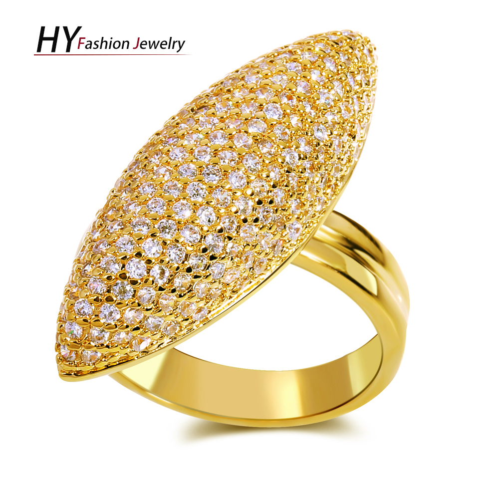 Geometric design New fashion ladies finger Rings gold color CZ setting Engagement Ring Fashion Luxury Jewelry