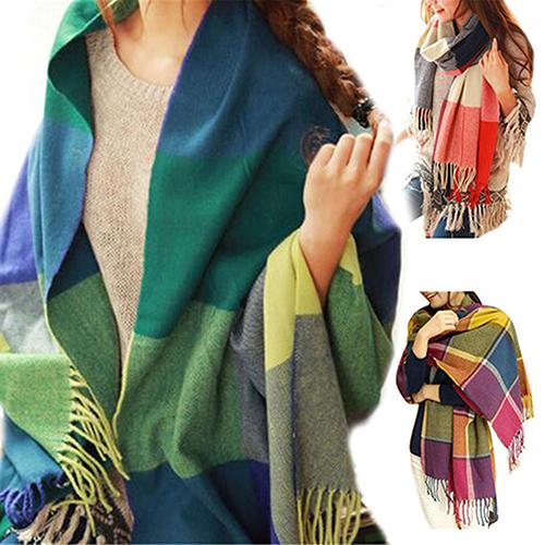 mujeres moda invierno clido suave bufanda a cuadros borla larga y ancha del mantn del abrigo
