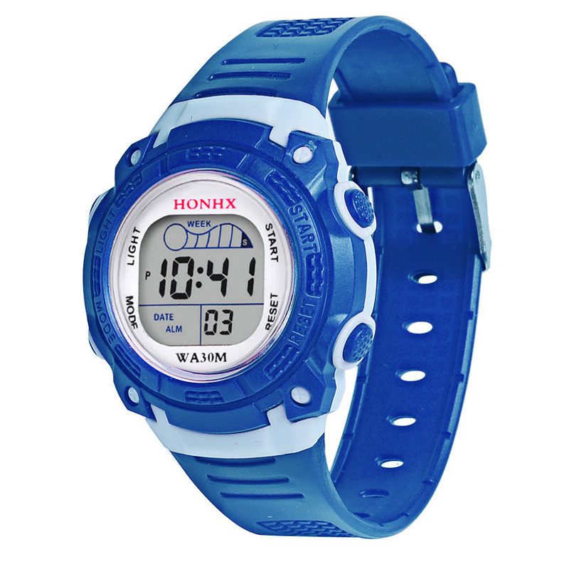 Children Kid's Electronic Digital Watch LED Round Dial With PU Band Wrist Watch For Boys Girls Gifts LL@17