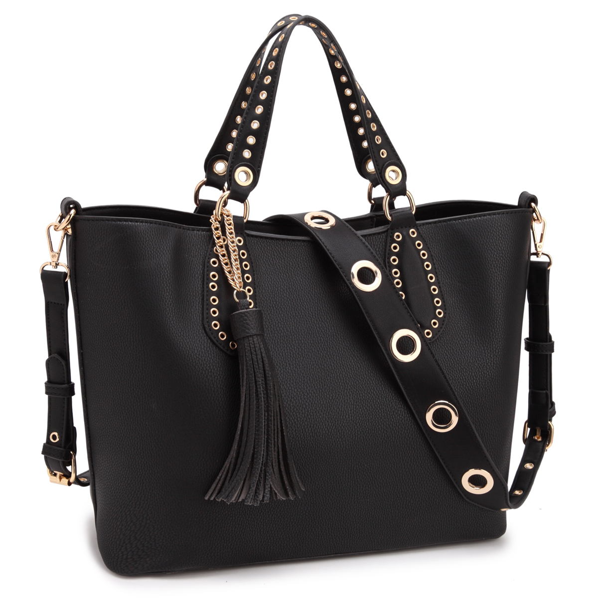 DASEIN Classic Tote with Fringe Tassels and Grommet Design retro women s satchel with engraving and fringe design
