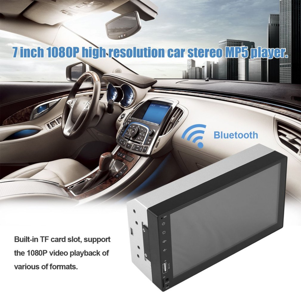 2 Din Car MP5 Player Bluetooth 7 Inch TFT LCD Display Screen FM Radio USB / TF / Aux Input / Car Rear View Monitor 1080P Play 7026tm 7 inch 800 480 double din hd bluetooth auto car radio mp5 player touch screen design tf fm aux input rear view camera set