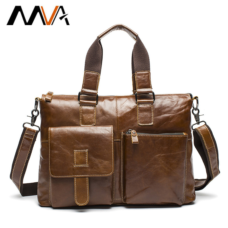 MVA Leather Laptop Bag 14 inch Genuine Leather Shoulder Bags Business Briefcase Handbags Totes Work Document Bags Men Briefcases mva business men s briefcase handbags genuine leather men bag shoulder messenger bags portfolio men leather laptop bag 14 inch