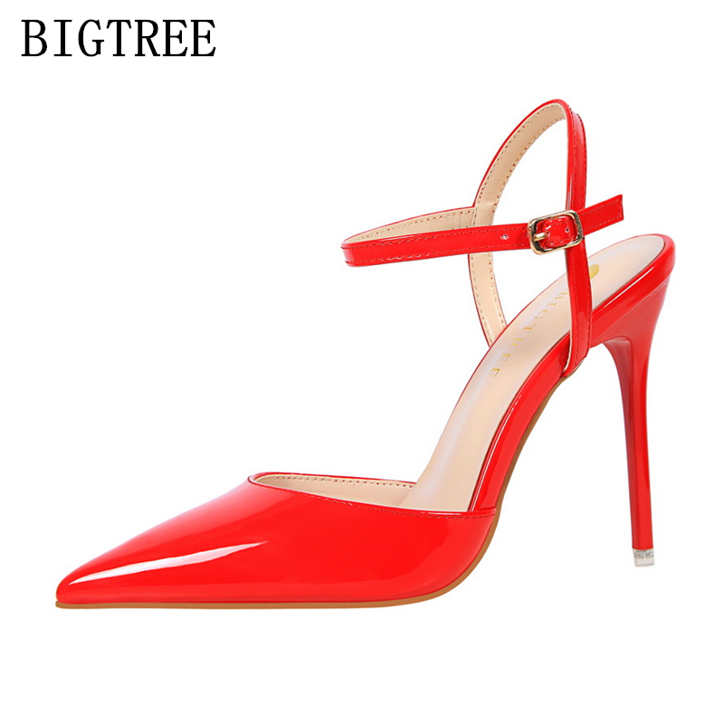 designer luxury brand bigtree shoes high heels sandals women mules chaussures femme ete 2017 patent leather shoes women pumps luxury brand crystal patent leather sandals women high heels thick heel women shoes with heels wedding shoes ladies silver pumps
