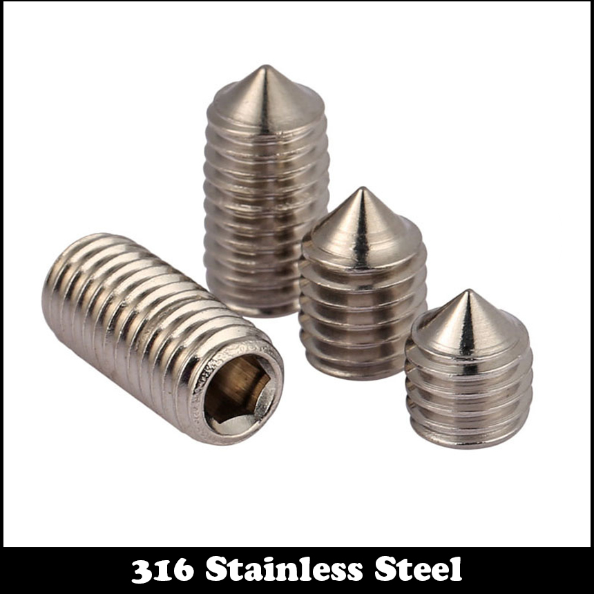 50pcs M4 6mm M4*6mm M4X6 316 Stainless steel SS Pointed Head Cone Screw Inner Hexagon Socket Slotted Set Srews 4 6