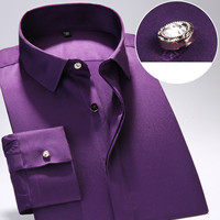 2017 Spring New Men Solid Cotton Long Sleeve Dress Shirts Men S Shirt Casual Male Fitted