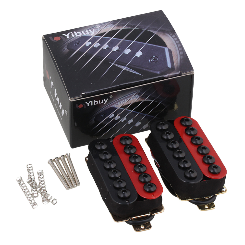 Yibuy Double Coil Humbucker Electric Guitar Neck Bridge Pickup Red and Black guitar pickup humbucker gold chrome black double coil pickups electric guitar parts accessories bridge neck set