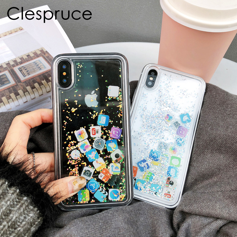 Clespruce Amusing Mobile apps Icon pattern Phone Case cover for iphone X 7 8 Plus 6 6s plus Glitter Quicksand Liquid Phone Case
