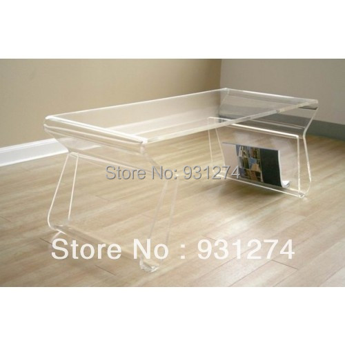 Acrylic Coffee Table with Magazine Rack/Acrylic End Table/Plexi Tea Table with Magazine Holder/Acrylic Furniture acrylic laptop desk perspex plexiglass lucite laptop table coffee side table acrylic furniture