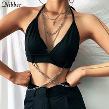 Nibber-Crop Tops con cadena de metal decorativa para mujer, camisola sexy sin mangas para fiesta y club de verano, 2019