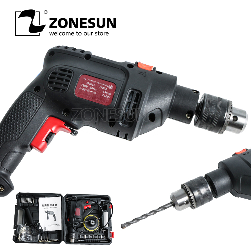 ZONESUN Rotary Drill Electric Screwdriver Portable Reversible Power Tools Automatic Woodworking Steel Aluminum Drilling Machine free shipping domestic woodworking high power electric tool portable electric planer