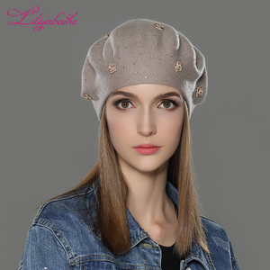 Image 4 - LILIYABAIHE new styleWomen Winter Hat wool angora Knitted Berets Cap solid colors fashion the most popular decoration Roses caps