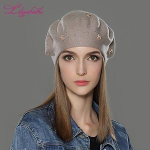 Image 4 - LILIYABAIHE, nuevo estilo, sombrero de invierno de lana angora, boinas de punto, colores sólidos, moda, la decoración más popular, tapas de rosas