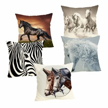 New 25 Horse Cushion Case Decorative Cover 45x45CM Cotton Linen Square Throw Pillow