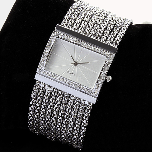 2017 Latest New Fashion Quartz Womens Silver Tone Band Rhinestone Bangle Bracelet Watch  6T4T