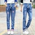 Slim Fit Largo Estrella de Mezclilla Pantalones Más Tamaño Elástico de La Cintura pantalones Delgado Acanalado Correa Ocasional de Las Mujeres Jeans Pantalones Lápiz Azul JS-5601