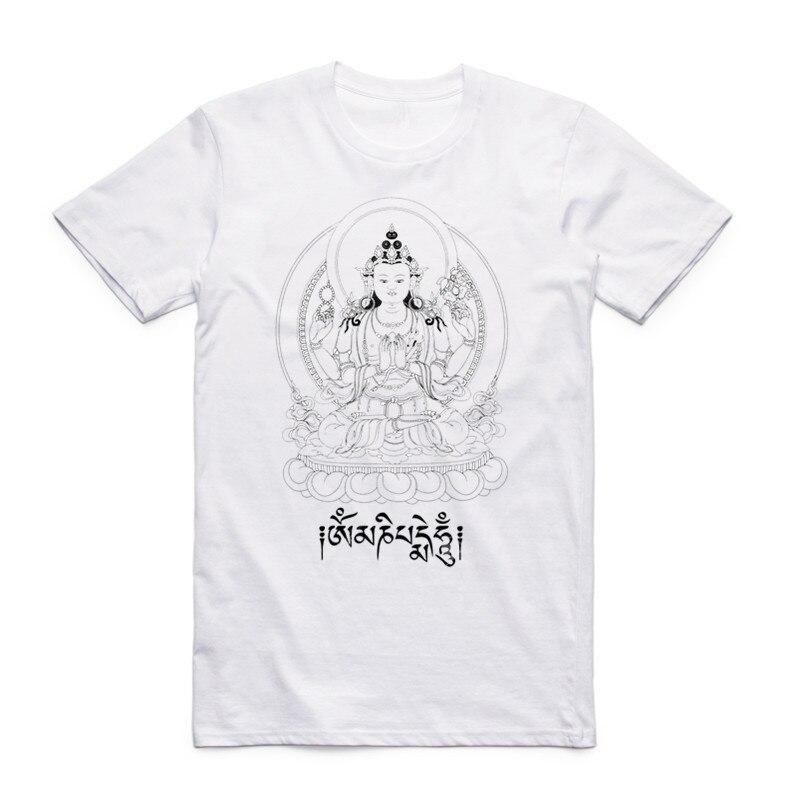 Summer Print JN BUDDHISM OM MANI PADME HUM   T     Shirt   Short Sleeves O Neck Tibetan Buddhism Thangka Six Words Ring   T  -  shirt