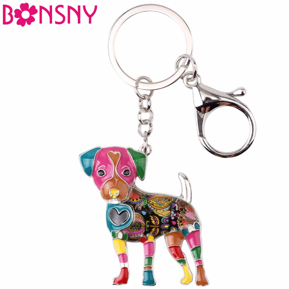 Bonsny Enamel Jack Russell Dog Key Chain Key Ring Pom Gift For Women Girl Bag Pendant 2017 Charm Keychain Fashion Animal Jewelry