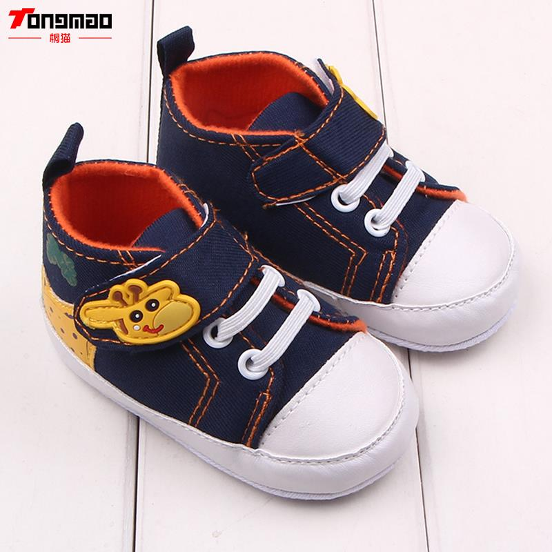 Baby Shoes 2016 New Baby Boys Cartoon Printed Giraffe Canvas Anti-slip Infant Soft Sole Cotton High Quality Kids First Walker