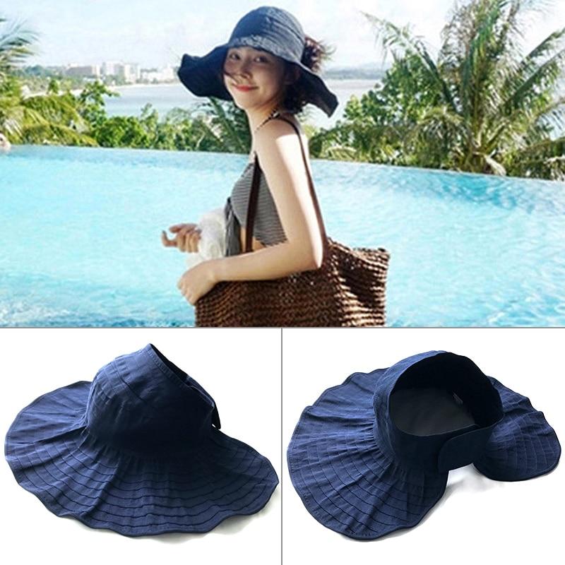 2019 NEW Women's Summer Hat Cap Hat Woman Vacation Travel Shade Anti-UV Beach Hat Widebrim Hat Sun Fashion Ponytail Cotton